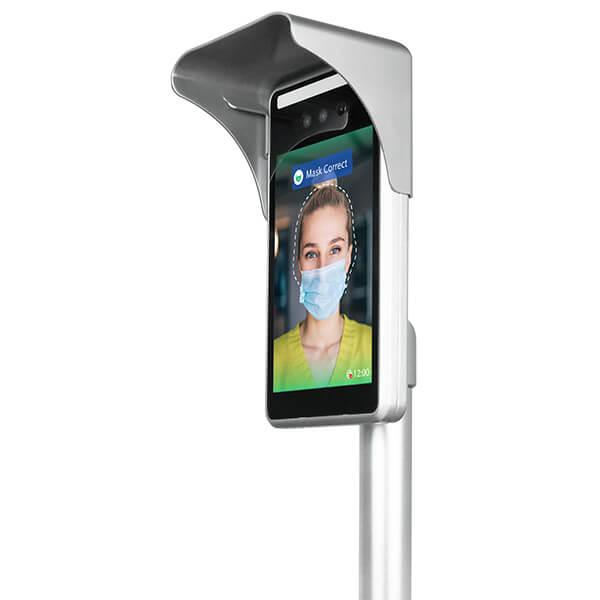 Automatyczne rozpoznawanie twarzy Pomiar temperatury digital signage - widok z lewej strony
