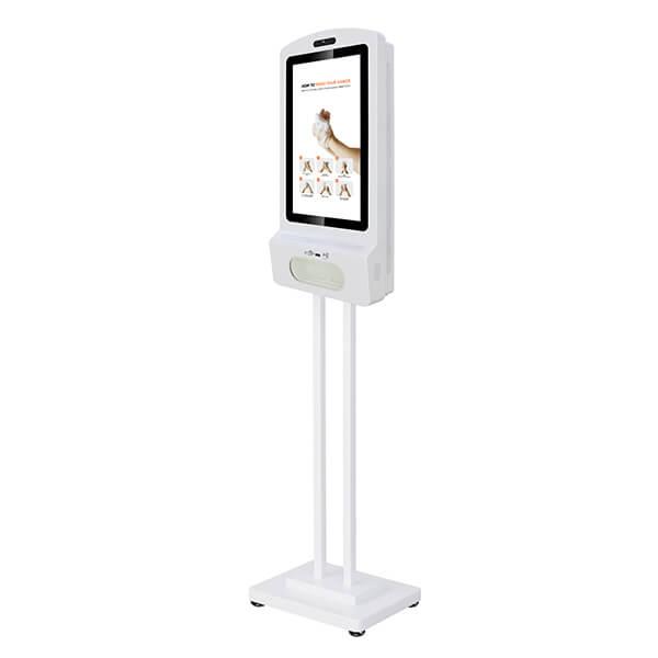LCD ekran dozownik do dezynfekcji rąk - widok z boku (ze stojakiem)