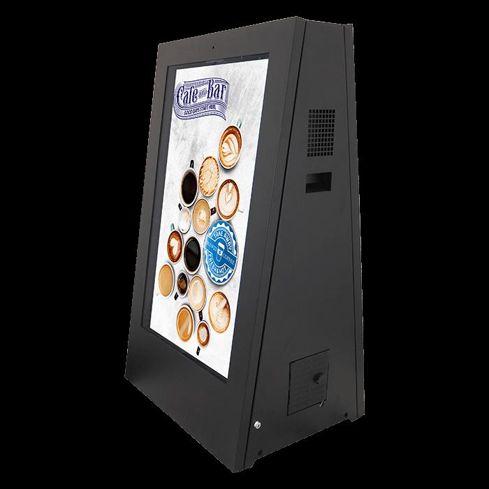 Interaktywny kiosk cyfrowy potykacz widok z lewej strony