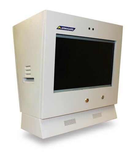 Monitor reklamowy dystrybutor paliwa widok z lewej strony