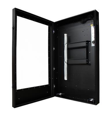 Monitory reklamowe - widok z boku, z otwartmi drzwiami