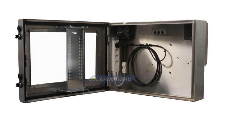 Obudowa pogodoodporna LCD widok z prawej strony z otwartymi drzwiami