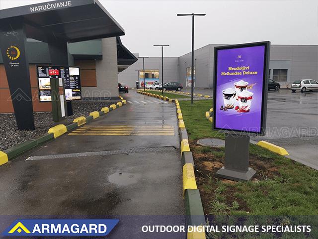 'Zobacz obudowa QSR Totem Samsung, przeznaczona wyłącznie do ekranów Armagard'