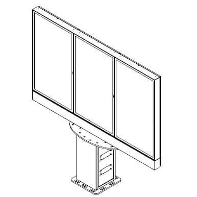 Obudowa totem do monitorów menu board Widok produktu z przodu