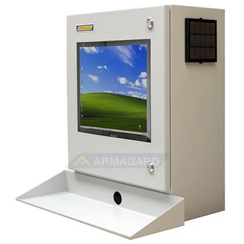 Szafa na komputer przemysłowy widok z lewej strony z podstawka pod klawiature