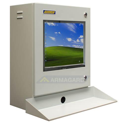 Szafa na komputer przemysłowy widok z prawej strony z podstawka pod klawiature