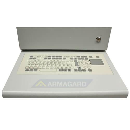 Szafa na komputer przemysłowy z klawiatra typu touchpad detale