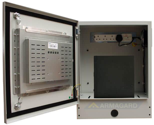 Monitor z ekranem dotykowym widok z przodu z otwartymi drzwiami