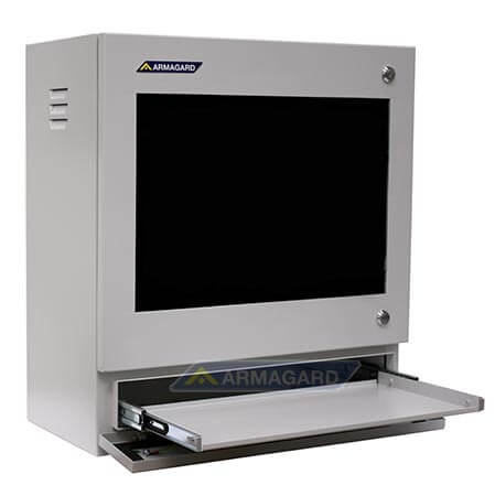 Szafa komputerowa widok z lewej strony z podstawka podklawiature