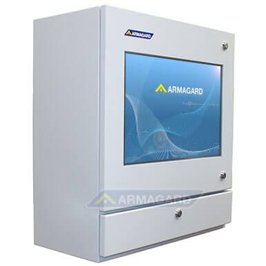 Dotykowy panel sterowania na linię produkcyjną, Ochronna obudowa komputera z ekranem dotykowym do zastosowania w niebezpiecznych warunkach | Armagard Ltd