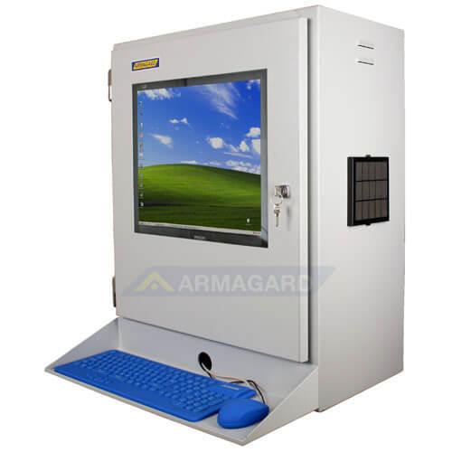 Szafa do komputera widok z boku z podstawka pod klawiature