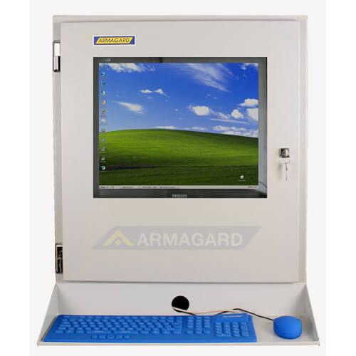 Szafa do komputera widok z przodu z podstawka pod klawiature
