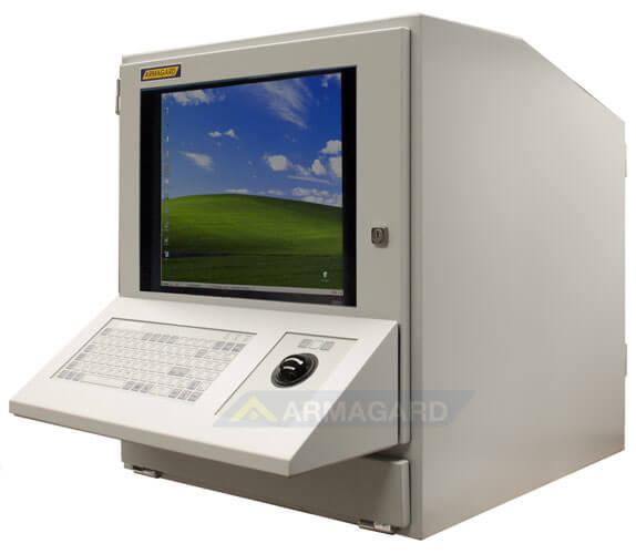 Szafa na komputer widok z boku z opcyjnie zamocowana klawiatura typu trackball