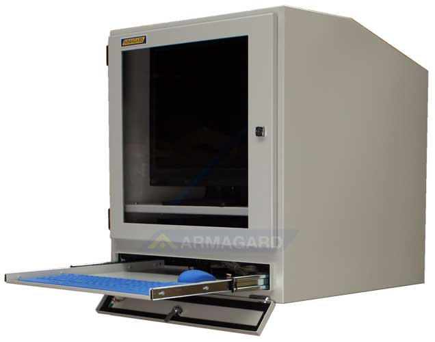 Szafa na komputer widok z boku z wysunieta podstawka na klawiature i myszke