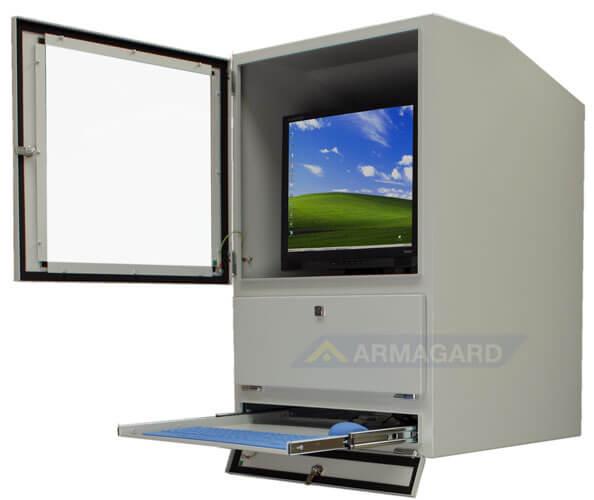 Szafa pod komputer przemysłowy drzwi do obudowy i polki na klawiature otwarte
