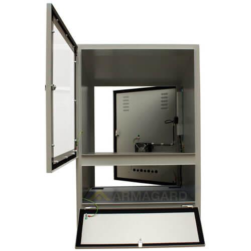 Szafa pod komputer przemysłowy - widok z przodu wszystkie drzwi otwarte