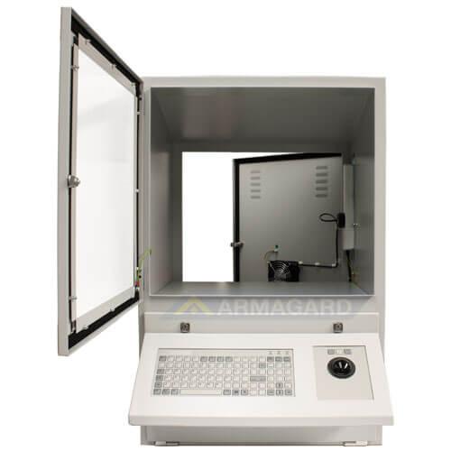 Szafa pod komputer przemysłowy widok z przodu z otwarta polka na klawiature