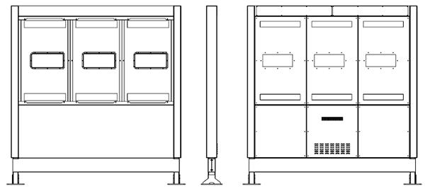 Samsung OH55F totem zewnętrzny schematic widok z przodu
