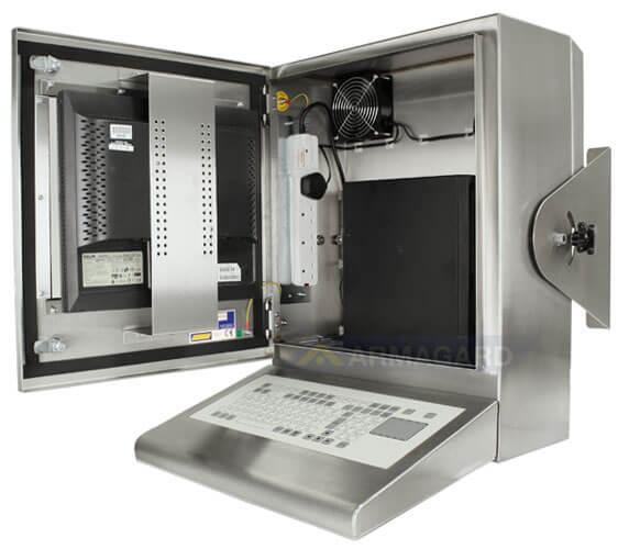 Bryzgoszczelna szafka na komputer Inox z zintegrowana klawiwturą - widok z boku z otwartymi drzwiami