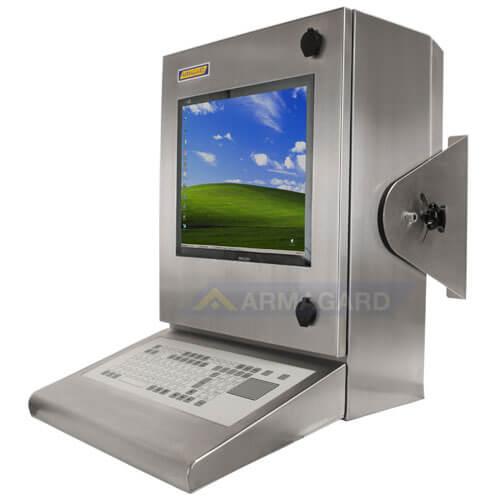 Bryzgoszczelna szafka na komputer Inox z zintegrowana klawiaturą – widok z boku