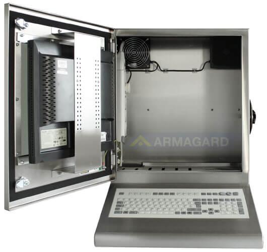 Bryzgoszczelna szafka na komputer Inox z zintegrowaną klawiaturą - widok z przodu z otwartymi drzwiami