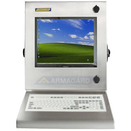 Bryzgoszczelna szafka na komputer Inox z zintegrowaną klawiaturą widok z przodu