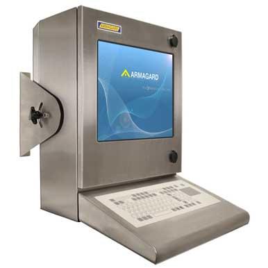 Bryzgoszczelna szafka na komputer Inox | Solidna ochrona monitora i komputera | Armagard Ltd.