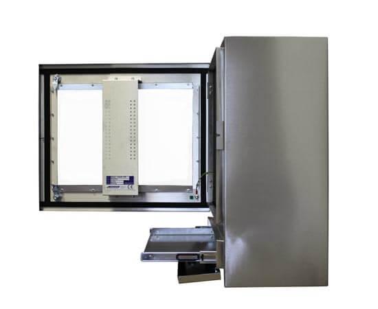 Szafa na komputer ze stali nierdzewnej – uchwyt VESA i zamykana półka na klaiwiaturę