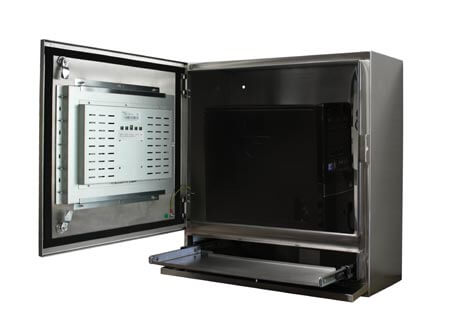 Terminal dotykowy wodoodporny widok z boku z komputerem