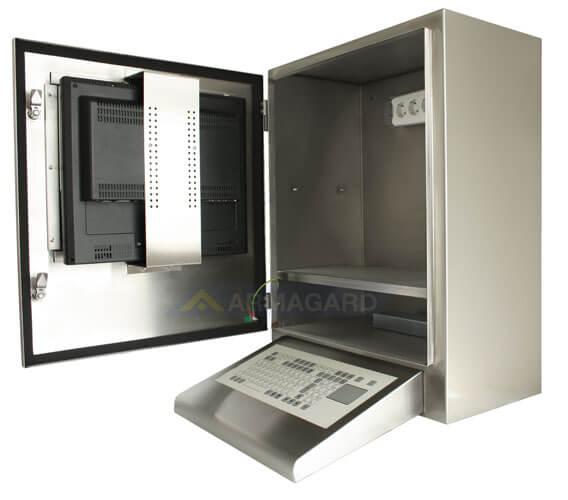 Szafa na komputer INOX z załączoną klawiaturą widok z boku z otwartymi drzwiam