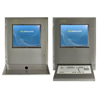 Szafa na komputer INOX z półką na klawiaturę lub z załączoną membranową klawiaturą