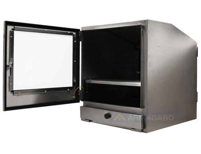 Wodoodporna obudowa komputera widok z boku przednie drzwi otwarte