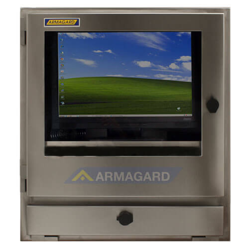 Wodoodporna obudowa komputera widok z przodu ekranu
