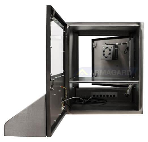 Nierdzewna obudowa komputera przednie i tylnie drzwi otwarte | SENC-900
