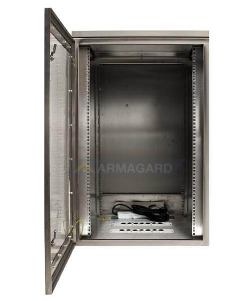 Szafa na komputer INOX z półką na klawiaturę widok z boku z otwartami drzwiami