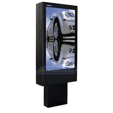 Totem LCD zewnętrzny widok z lewej strony z reklama