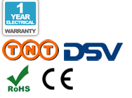 1 rok gwarancji, dostawę TNT, dostawę DSV, CE oraz RoHS logo