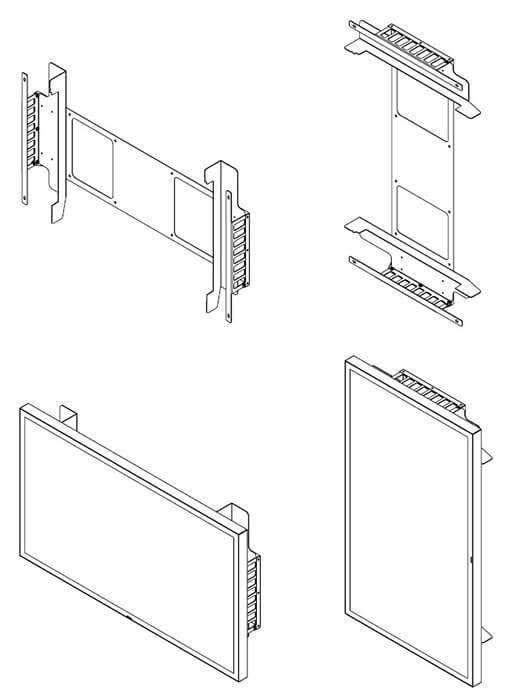 Uchwyt do Samsung OH46F i OH55F schematyczny widok uchwytow z prawej strony