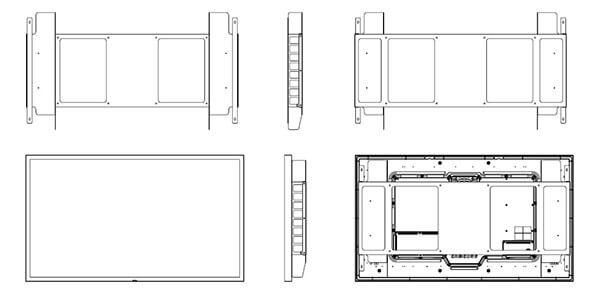 Uchwyt do Samsung OH46F i OH55F schematyczny widok uchwytu
