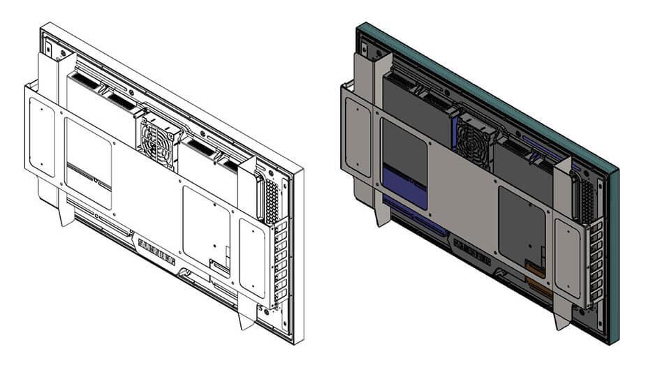 Samsung OH46F rysunek schematyczny widok z prawej stony