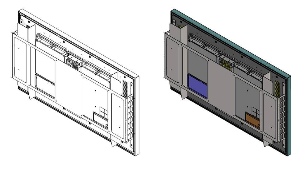 Samsung OH55F uchwyt naścienny schemat widok z prawej strony