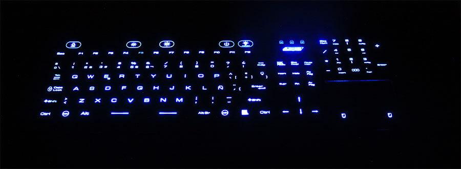 wodoodporna klawiatura z touchpadem z podświetlanymi niebieskimi klawiszami