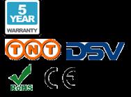 5 lat gwarancji, dostawę TNT, dostawę DSV, CE oraz RoHS logo